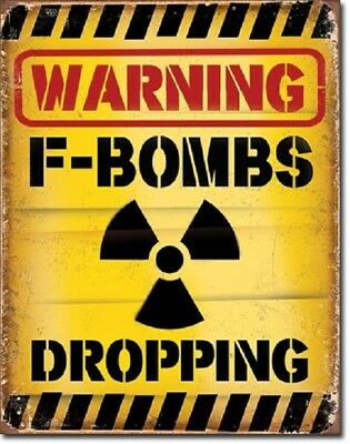 Warning F Bombs Dropping College Dorm Humor Funny Man Cave Wall Decor Metal Sign