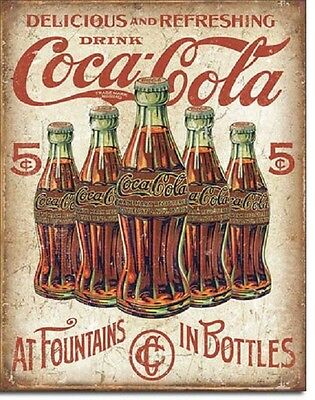 Coca Cola Coke 5 Cent Bottle Advertising Vintage Retro Wall Decor Metal Tin -