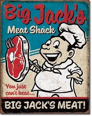 Big Jacks Meat Shack Funny Humor Retro Kitchen Wall Art Decor Metal Tin Sign New