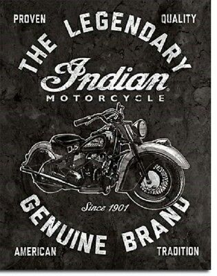 Indian Legendary Motorcycle Genuine Service Garage Retro Decor Metal Tin Sign