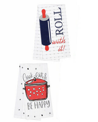 2 Flour Sack Kitchen Dish Tea Towels Set - Cook Eat & Be Happy, Roll With It -