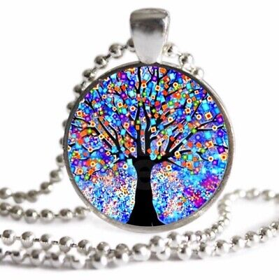 TREE OF LIFE Necklace FAMILY TREE Mosaic Art Silver Charm Pendant -