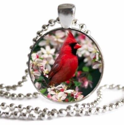 CARDINAL Bird Necklace Spring Flowers Bird Lover Gift SILVER Charm Pendant