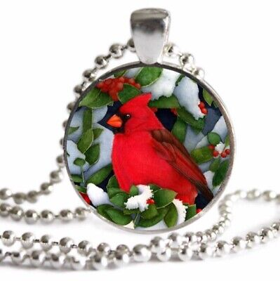 Christmas CARDINAL Necklace Holly Bird Lover Gift SILVER Charm Pendant