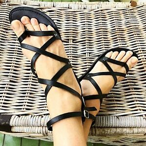 Black Leather Roman Sandals (Zu) Petersham Marrickville Area Preview