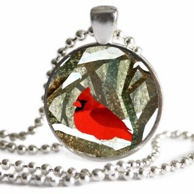 Winter CARDINAL Bird Necklace Bird Lover Gift SILVER Charm Necklace Pendant