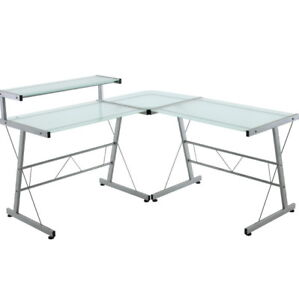 L-Shaped Glass Office Desk only $100