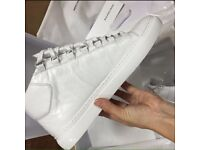 Balenciaga Arena Snow White Creased Leather Men's High Top Designer Sneakers