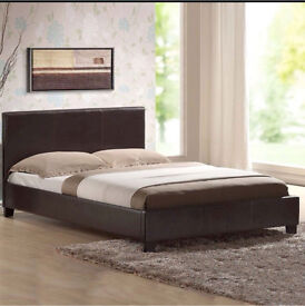 Faux leather double bed brown