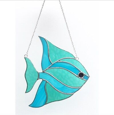 Stained Glass Fish (Handmade Stained Glass Fish Suncatcher Blue And Green Glass, Gift)