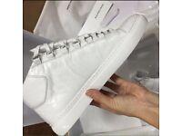 White Balenciaga Arena High Top Creased Leather Men's Designer Sneakers