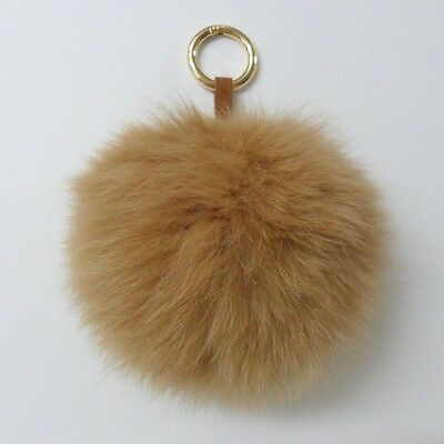 The Biggest Camel Brown Fluffy Real Fox Fur Key Chain Ring Bag Charm Accessory