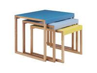 HABITAT KILO Multi-coloured metal nest of 3 side tables BRAND NEW