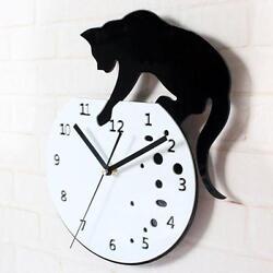 Classic Cat Acrylic Clock Wall Clock Modern Design Home Decor Watch Wall Sticker