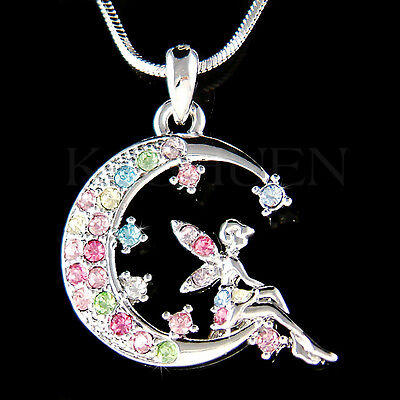 ~Rainbow Tinkerbell~ made with Swarovski Crystal Tinker Bell Fairy MOON Necklace