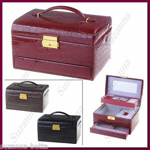 PU Leather Vintage Jewel Case Jewelry Casket Storage Box 3-Layer with Mirror