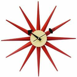 George Nelson Sunburst Design Clock Red