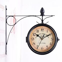 Train Station Wall Clock Double Sided Clock Vintage Clocks For Walls Two Faces