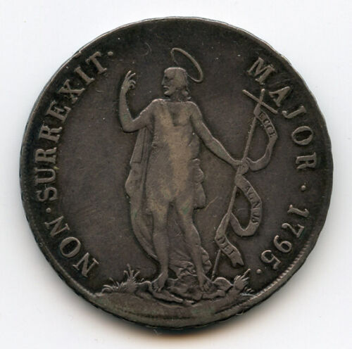 ITALY GENOA 1795 ISSUE 8 LIRE SILVER CROWN SCARCE NICE TONED CHOICE VF.