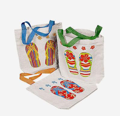 12 Flip Flop CANVAS Tote Bags BEACH LUAU PARTY FAVORS