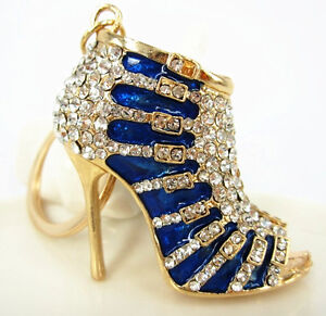 Blue-Shoe-High-Heel-Cute-Charm-Pendant-Crystal-Purse-Bag-Keyring-Key-Chain-Gift