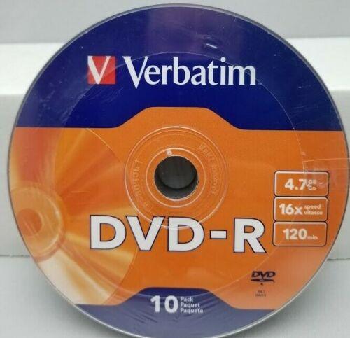 Verbatim DVD-R 10 Pack 16X 4.7GB 120 Minutes Recordable New Sealed