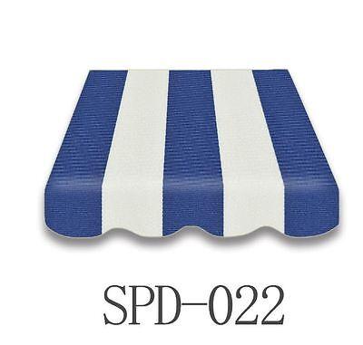 Markisenstoff  Markisenbespannung Ersatzstoff mit Volant 3 x 2 m  blau/weiß 022