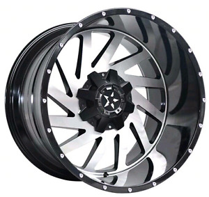 "4 NEW *** 20"" 8x6.5 BLACK/MACHINED WHEELS"