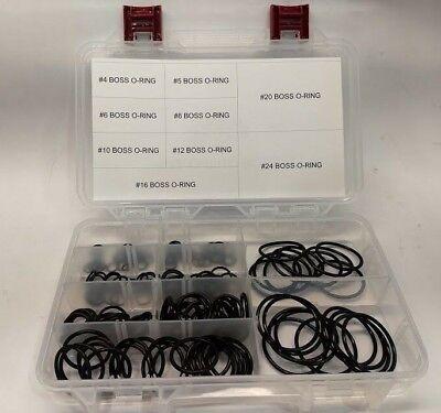 Hydraulic Sae O-ring Boss 90 Durometer Buna O-ring Kit. 180pcs 4-24 Wcase