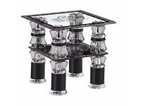 Glass SID Table Artistic Design With Silver & Black Colored & Bottom Shelf