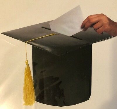 Graduation Graduate Gift Card Box Mortarboard Tassel Party Present Black Gold (Graduation Gift Card Box)
