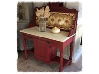 Beautiful Plum Victorian Washstand with Original Tiles - OFFERS