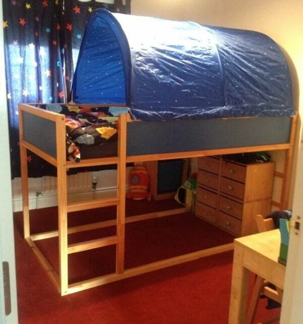 Ikea Kura Kids Beds With Tent Cover And Star Lights In