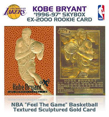 1996-97 KOBE BRYANT Feel The Game NBA SKYBOX EX-2000 ROOKIE 23K GOLD Card Kobe Bryant Nba