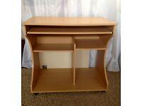 Beech effect computer desk/trolley