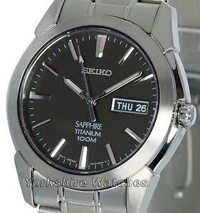 NEW SEIKO TITANIUM SAPPHIRE BLACK DIAL QUARTZ SGG731P1
