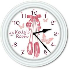 Personalized Ballet Slippers WALL CLOCK - Dance Studio Butterfly Pink Kids Room