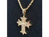 24ct Gold Plated Cross Pendant & Rope Chain