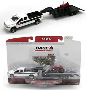 1:64 ERTL *CASE IH* Dodge Ram Pickup Truck w/5th Wheel FLATBED Trailer & Tractor