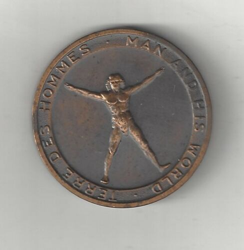 BRONZE 1967 MONTREAL CANADA UNIVERSAL INTERNATIONAL EXHIBITION COIN MEDAL MAN