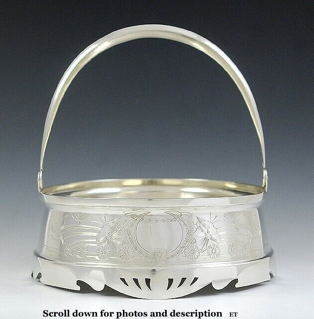 Antique c1900 Russian Silver Engraved Swing Handle Basket