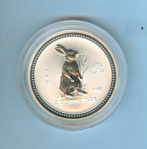 1999 RABBIT AUSTRALIAN TWO DOLLARS 2 Oz. SILVER .999 - 1 COIN TOTAL
