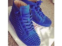 Christian Louboutin Louis Spikes Men's Flat Blue Suede Sneakers Size 7