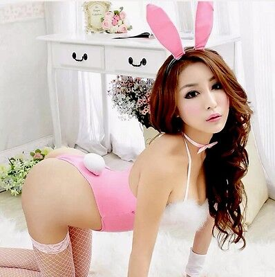 Pink Bunny Rabbit Playsuit Lingerie Naughty Halloween Cosplay Dress Up Fluffy  - Naughty Dressup
