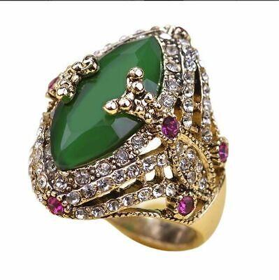 Boho Women Vintage Big Green Stone Ring Gold Crystal Turkish Jewelry Wedding