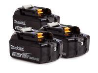 Makita Genuine battery BL1830B x3