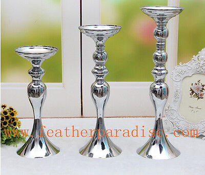 Wedding Flower Ball Feather Ball Stand Candle Holder Centerpiece Silver 15 inch  (Feather Ball Centerpieces)