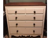 Shabby Chic large chest of rosewood drawers heavy