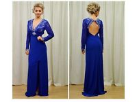 Blue long sleeve lace formal dress size 8