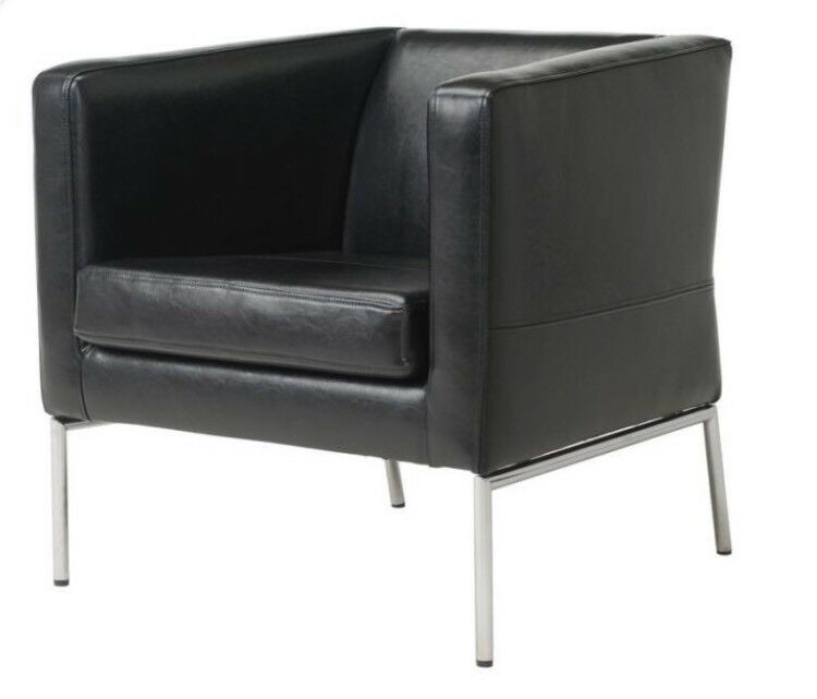 IKEA Klappsta chair, black leather,armchair | in ...